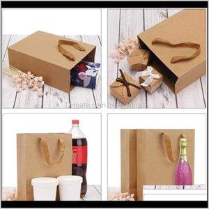 Подарочная упаковка Событие Праздничная вечеринка Главная Садовая доставка 2021 20 шт. 1 Лот коричневый Крафт-бумага Сумки с мягкой тканью ручки на день рождения Wedd