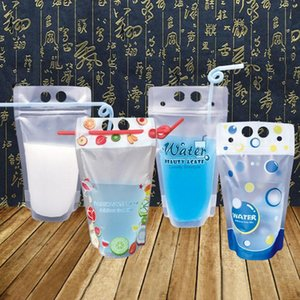 Pcs, 450 Ml Colorful Plastic Drink Packaging Bag Pouch For Beverage Juice Milk Coffee,Self-sealed Cute With Handle Storage Bags