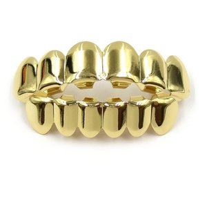 Gold Grillz Teeth Set New High Quality Mens Hip Hop Jewelry Real Gold Plated Teeth Grills