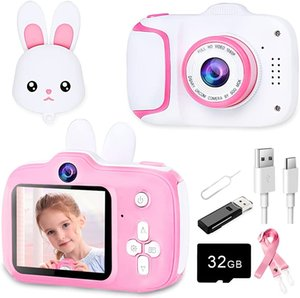 Цифровая детская камера HD 1080P - розовые камеры для 3-8 лет.