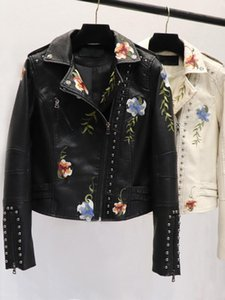 Spring Women Floral Print Embroidery Faux Leather Jacket Street Wear Turn-down Collar Pu Motorcycle Black Learher Coats Women's &