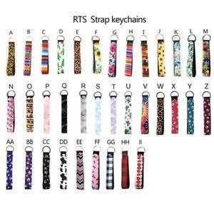Neoprene favor Wristlet Keychains Prints Strap Band Split Ring Chain Holder Hand Wrist Lanyard Keychain For Girls Women