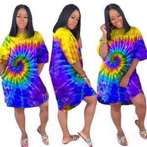 Artı Boyutu Bayanlar Elbiseler Yaz Kadınlar Plaj Elbise Elbise Kravat Boyama Moda Düzensiz Kulübü Rahat Maxi Giyim Kadın 5 Renk G530HQI