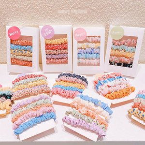 Girls Hair Accessories Tie Kids Hairbands Scrunchies Baby Accessory 5Pcs Sets Childrens Flower Chiffon Spring Summer B4681