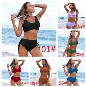 2021 One-Piece Suits Amazon swimsuit European and American bikini female sexy high waist pure color Beach equipment 07