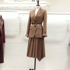 2021 spring autumn Korean fashion women 2 pieces OL elegant single breasted blazers + long pleated skirt suits set A78