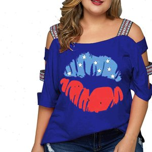 Women T Shirts Plus Size Casual Flag Print Off Shoulder Slings Sleeve Top shirt Sexy Comfortable Clothes Summer GM