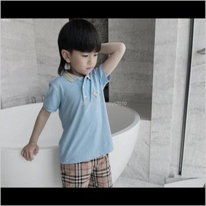 S Tops &Tees Baby Clothing Baby, & Maternity Drop Delivery 2021 Summer Boys Short Sleeve Shirt 2-12Y Children Lapel Solid Color Clothes Kids