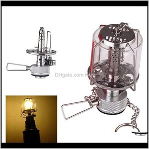 Lanterns Mini Camping Lantern Gas Portable Tent Glass Lamp Butane 80Lux Light Bl Ajlcg Ugvhn