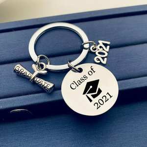 2021 Stainless Steel Keychain Pendant Class Of Graduation Season Buckle Plus Scroll Opening Ceremony Gift Key Ring Q31