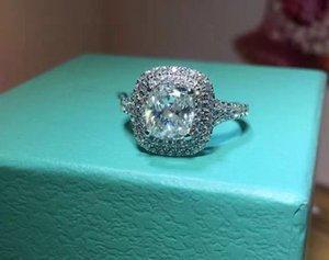 Luxury Quality NSCD Synthetic Gem 2 Carat Cushion Cut Engagement Wedding Ring For Women Rings