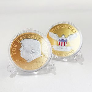 Arts and Crafts 2024 US Election Trump Commemorative Coin Gold Plated Silver Plated Double Colored Iron Coins T2I52442