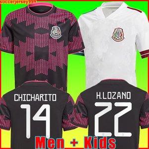 Mexico Soccer Jersey Home Black Purpal Copa America 20 21 Chicharito A. Guardado H. Lozano Herrera Dos Santos 2021 قميص كرة القدم الرجال + Kids Kit Cheights Mailleots