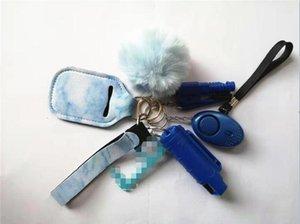 1 Set=6 pcs Defense Keychain Set Lncluding Spray Alarm Pompom Keychain Hand Sanitizer Broken Windows Key For Woman Men Self-defense Keyring