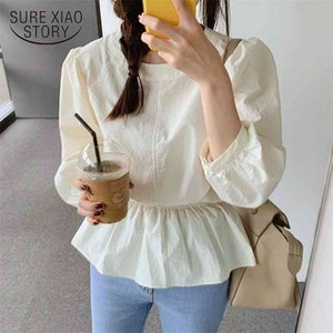 Long Sleeve Shirt Women Tops Blouses O-neck Blouse Apricot Solid Ruffle Sashes Casual Clothes Chemisier Femme 10102 210510