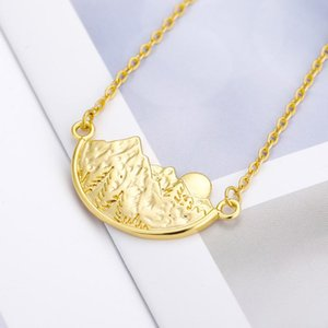 Gold Color Stainless Steel Mountain Sun Necklace For Women Baby Fashion Birthday Jewelry Gift Accesorios Bijoux Femme Wholesal Chains