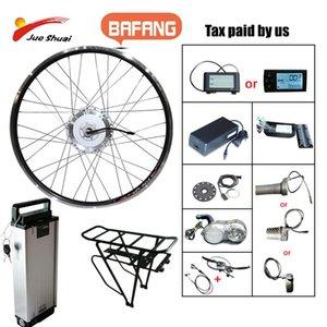 전기 자전거 bafang 48V 500W 자전거 기어 브러시리스 허브 모터 프론트 휠 드라이브 eBike 변환 키트 배터리 e