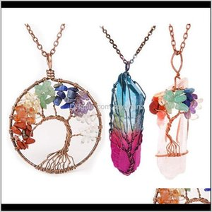 Necklaces & Pendants Jewelry Drop Delivery 2021 3Pcs Set Handmade Rainbow Chakra Of Life Necklace Quartz Wisdom Tree Natural Stone Pendant Jd