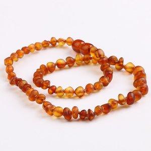 Amitado Ámbar dentición collar con cuentas para bebés adultos ambers naturales de piedra de piedra cadena gargantilla collares mujeres declaración joyería regalos 5 colores