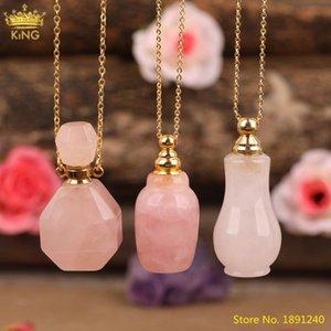 Unique Roses Quartz Stone Perfume Bottle Gold Chains Necklace For Women Pink Crystal Diffuser Vial Summer Boho Jewelry Wholesale Pendant Nec