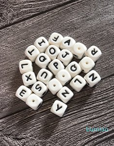 100PCS Silicone Alphabet Beads 12mm BPA Free Food Grade Letters Chewing Beads for Teething Necklace DIY Chewelry Baby Teethers