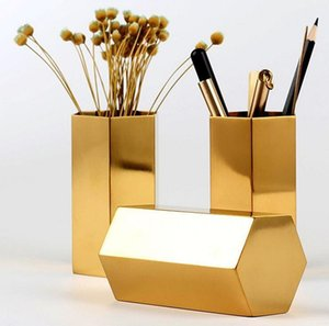 Metal Pencil Cup Nordic style Hexagon brass gold stainless steel vase pen holder tube storage container desk ornament WNOI P418