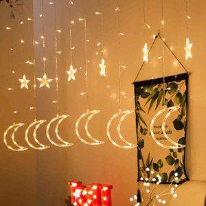 Eid Mubarak 3.5m LED 문자열 조명 이슬람 스타와 달 라마단 장식 홈 Eid Mubarak 장식 라마단 장식 파티 210408