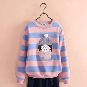 DH002 Girls' striped loose long-sleeved T-shirt Comfortable and practical, the style is novel Kids & Maternity Clothing Children's athletic