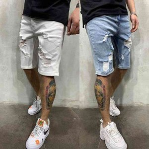 70% Off Outlet Online Fashion Ripped Summer Denim Shorts For Men White and Blue Slim Casual Trendy Jeans High Quality Male Clothing S-3XL