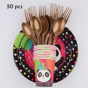 Disposable Dinnerware Birthday Panda Party Theme Tableware Plates Paper Towels Tablecloths Balloons Decorating Kids Supplies