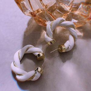 Fashion Leather Metal Twist Braided Earrings 2020 Autumn Winter New Jewelry Big Temperament Earings Wholesale Khaki Black