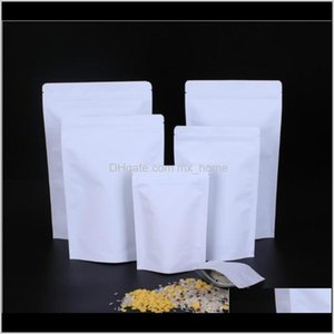 Bulk Storage Aluminizing Food Zipper Bag White Pouch Grip Stand Lock Seal Foil Kraft Paper Grade Resealable Aluminium Zip Patte Printa Dh2C9