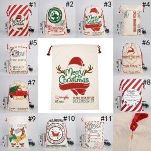 أكياس عيد الميلاد سانتا الديكور عيد الميلاد قماش أكياس القطن كبير الرباط أكياس الهدايا شخصية مهرجان حزب gyq