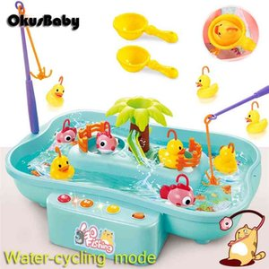 Summer Electric Rotary Children Fishing Toy Set Real Water Flow Duck Toys Hydrodynamic Cycle Music & LED Pool Table Education 210901