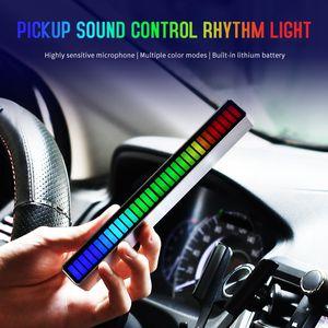 32LED - активированный голосовой пикап ритм легкий автомобиль атмосфера настольный аудио спектр RGB красочный светодиодный звуковой музыка USB свет регулирует
