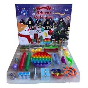 NEW!!! Fidget Toys Favor 24 Days Advent Calendar Pack Anti Stress Kit Sensory Relief Figet Toy Blind Box Kids Christmas Gifts fast ship CS15