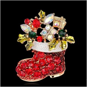 Pins Drop Delivery 2021 Fashion Crystal Pins Xmas Gift Decoration Jewelry Brooches Snowman Socks Rhinestone Brooch Red Colour Christmas Boots