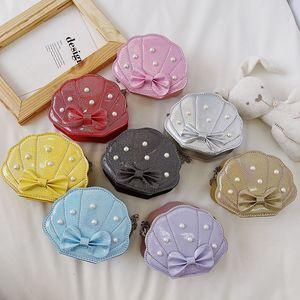 Girls Handbags Summer Kids Accessories Childrens Fashion Shell Pearl Shoulder Messenger Bag Leather Princess Chain Purses 1385 B3