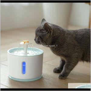 Bowls Feeders Matic Cat Water Led Light 24L Electric Usb Dog Mute Drinker Feeder Bowl Pet Drinking Fountain Dispenser Jninn Serxz