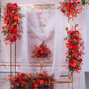المعادن الزفاف قوس إطار خطاباتخطابهزوجي صف عداء مربع خلفية حامل خلفية الذهب تصفيح في الهواء الطلق زهرة الباب الاصطناعي الجرف