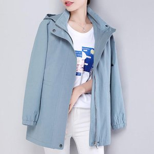Women's Trench Coats Jacket Solid Color 2021 Autumn Korean Casual Stand-Collar Outwear Female Hooded Windbreaker Plus Size 4XL