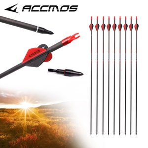 12pcs Newest Pure Fiber Arrow Carbon with Four Vanes 32in ID 6.2mm Spine 250-800 Archery For Compound  Recuvre Bow Shooting