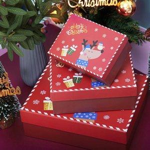2021 Christmas gift bag box large cartoon elk gift box scarf glove packing box