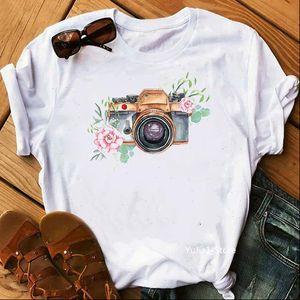 Vintage Women T Shirt Watercolor flowers camera print white harajuku kawaii top female camisetas mujer tee custom