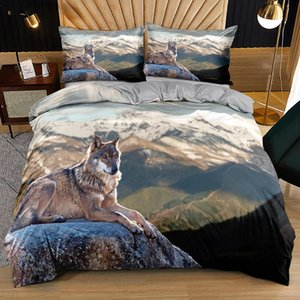 Bedding Sets Wolf Quilt Cover 3D Custom Design Animal Comforter Cases Pillow Sham 203*230cm Full Twin Double Queen Size Gray Bedclothes