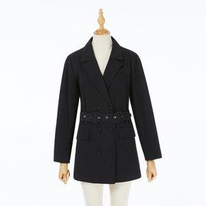 Autumn winter cotton elegant belt fashion business work suit jacket