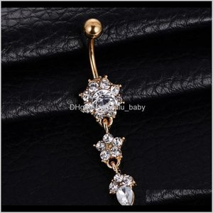 1Pcs Crystal Bell Fashion Sexy Button Dangle Flower Rings Piercing Navel Body Jewelry Oahk Bwe7H Ailjp