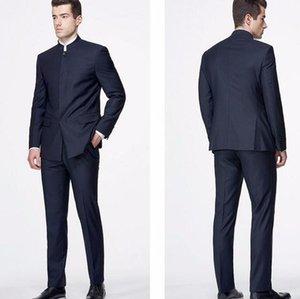 Costume Mens Tailor Fabriqué Blazer Chinois Style Chinois Mandarin Collier 2021 Mode Custom Slim Fit Mariage Mariage pour hommes Veste + Pantalons Blazers pour homme