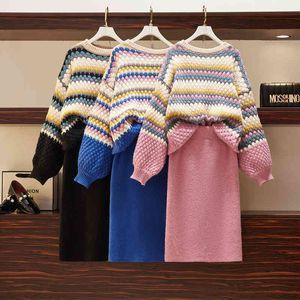 skirt High Quality Autumn Winter Vintage Knitted 2 Piece Set Women Korean Loose Pullover Sweater & Bodycon Mini Ensemble Femme DWHZ