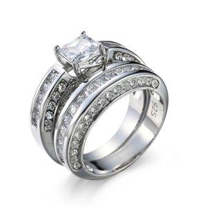 Choucong Princess Cut Stone 5a Zircone Pietra 10kt Bianco Gold Gold Riempito Ring Anello Set SZ 5-11 616 T2